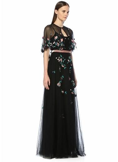 Marchesa Notte Askılı Çiçek Nakışlı Boncuklu Maksi Elbise Siyah